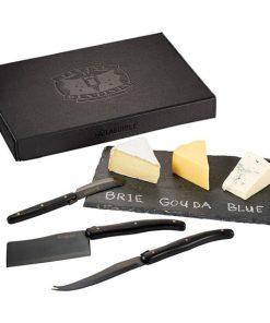 ensemble, service, fromage. ardoise, couteaux, planche, craie, coffret-cadeau, logo, personnalisé, promotionnel