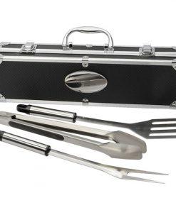ensemble, BBQ, pièces, couteau, fourchette, spatule, stainless, acier, inox, logo, personnalisé, promotionnel