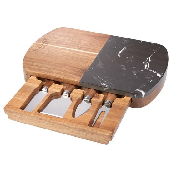 ensemble, service, fromage. marbre, bois, couteaux, planche, craie, coffret-cadeau, logo, personnalisé, promotionnel
