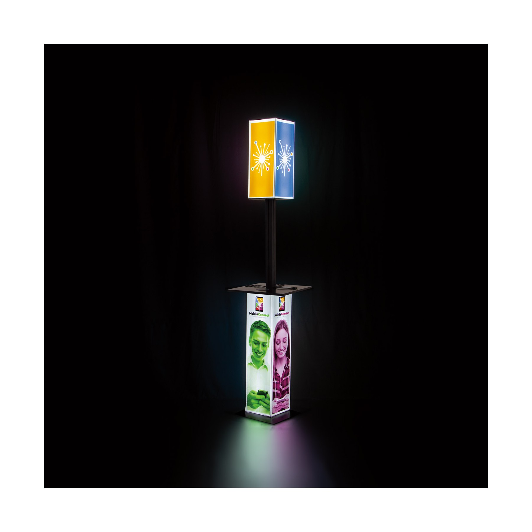 station, stand, chargeur, port, apple, android, led, lumière, lumineux, 4 côtés, comptoir, personnalisé