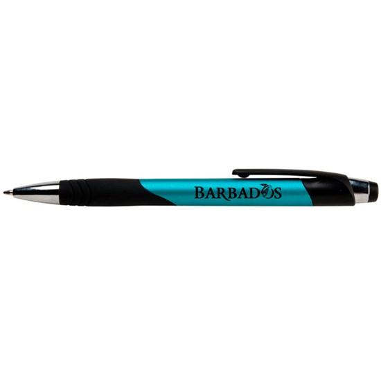 stylo, bille, encre bleu, plastique, bouton poussoir, caoutchouc, pression, logo, graphisme, personnalisé, promotionnel