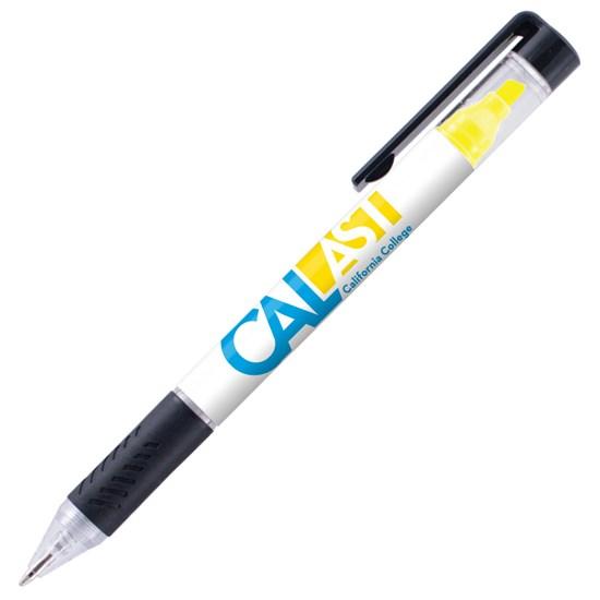 stylo, surligneur, encre, plastique, bouton poussoir, caoutchouc, pression, logo, graphisme, personnalisé, promotionnel